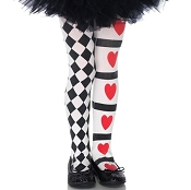 Girls Harlequin and Hearts Tights
